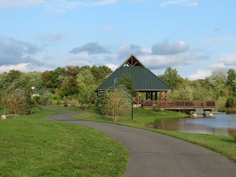 Pavilion and path beside lake in Northern Fauquier Community Park