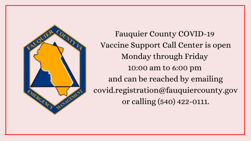 Covid 19 Call Center Information Fauquier County Va